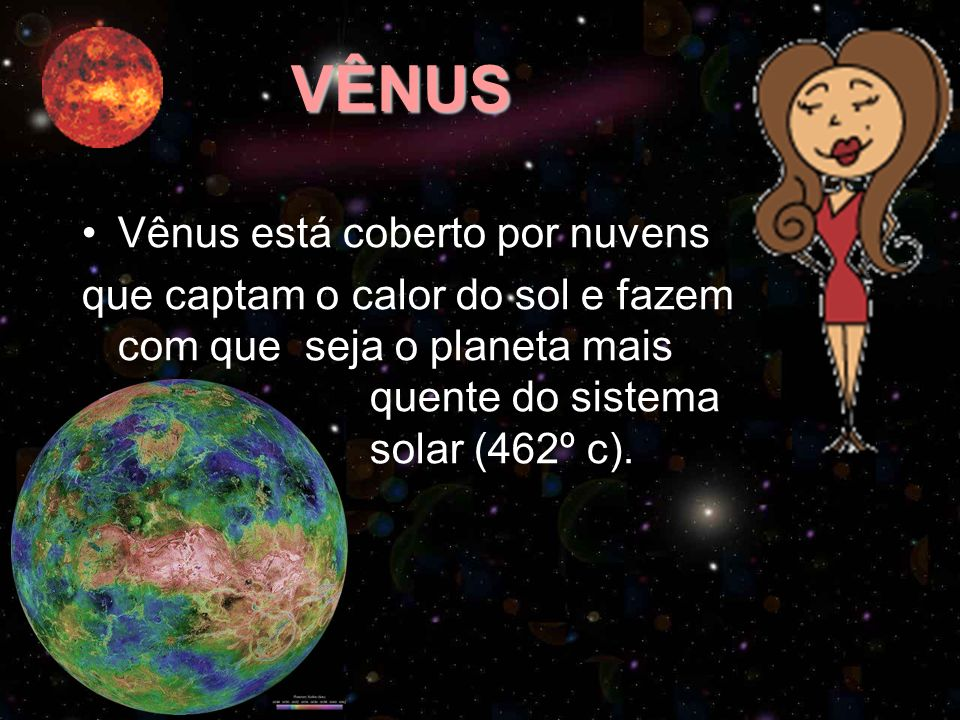 VÊNUS Vênus está coberto por nuvens