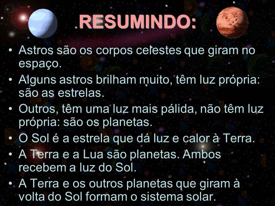 RESUMINDO: Astros são os corpos celestes que giram no espaço.