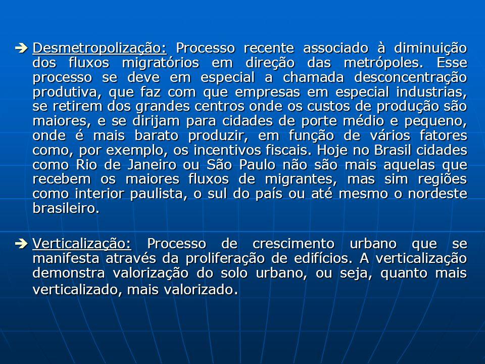 Desmetropolização: Processo recente associado à diminuição dos fluxos migratórios em direção das metrópoles. Esse processo se deve em especial a chamada desconcentração produtiva, que faz com que empresas em especial industrias, se retirem dos grandes centros onde os custos de produção são maiores, e se dirijam para cidades de porte médio e pequeno, onde é mais barato produzir, em função de vários fatores como, por exemplo, os incentivos fiscais. Hoje no Brasil cidades como Rio de Janeiro ou São Paulo não são mais aquelas que recebem os maiores fluxos de migrantes, mas sim regiões como interior paulista, o sul do país ou até mesmo o nordeste brasileiro.