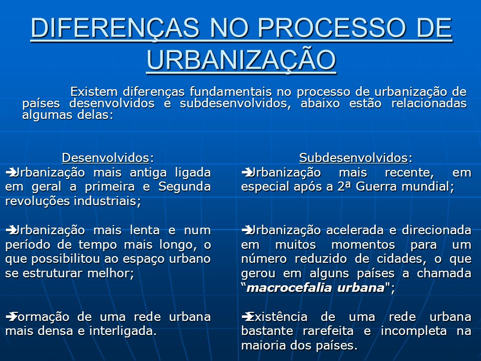 DIFERENÇAS NO PROCESSO DE URBANIZAÇÃO