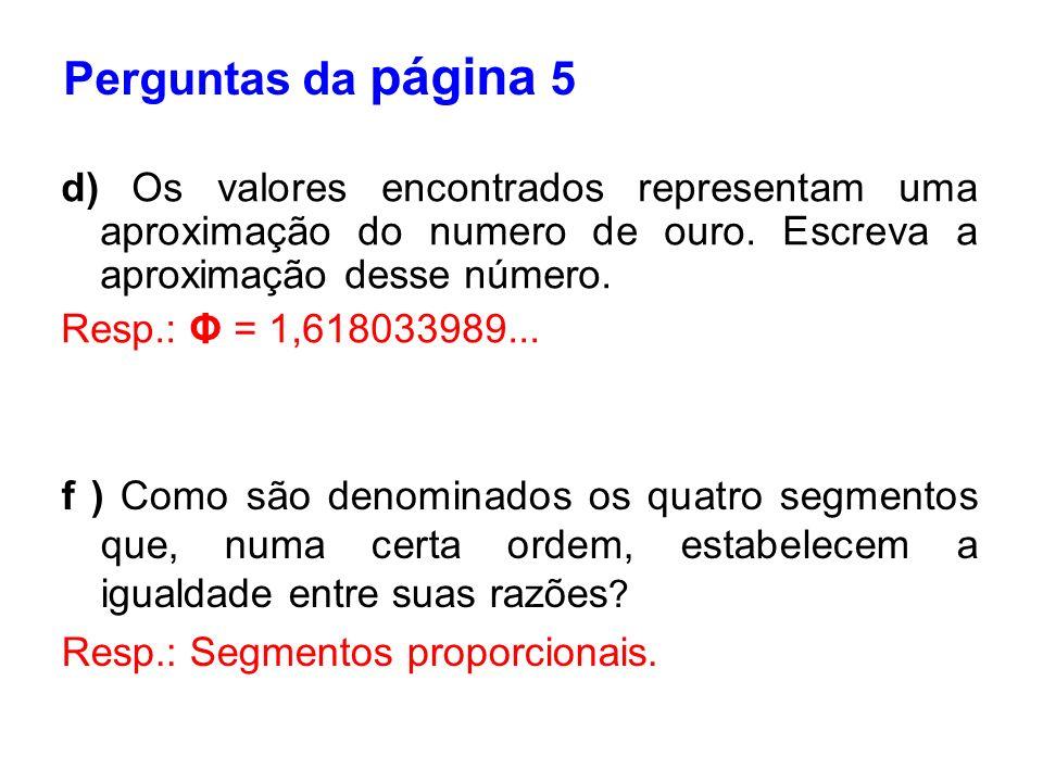 Perguntas da página 5 d) Os valores encontrados representam uma aproximação do numero de ouro. Escreva a aproximação desse número.