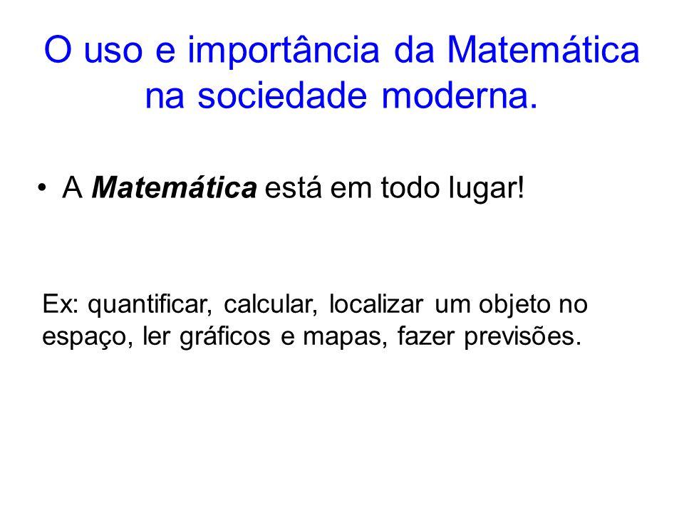 O uso e importância da Matemática na sociedade moderna.