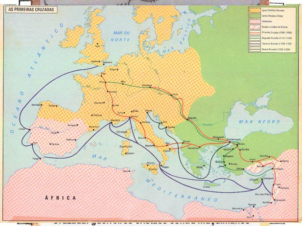 Cruzada dos mendigos Cruzada dos nobres. Conquista de Jerusalém. Cruzada dos Reis. Cruzada comercial.