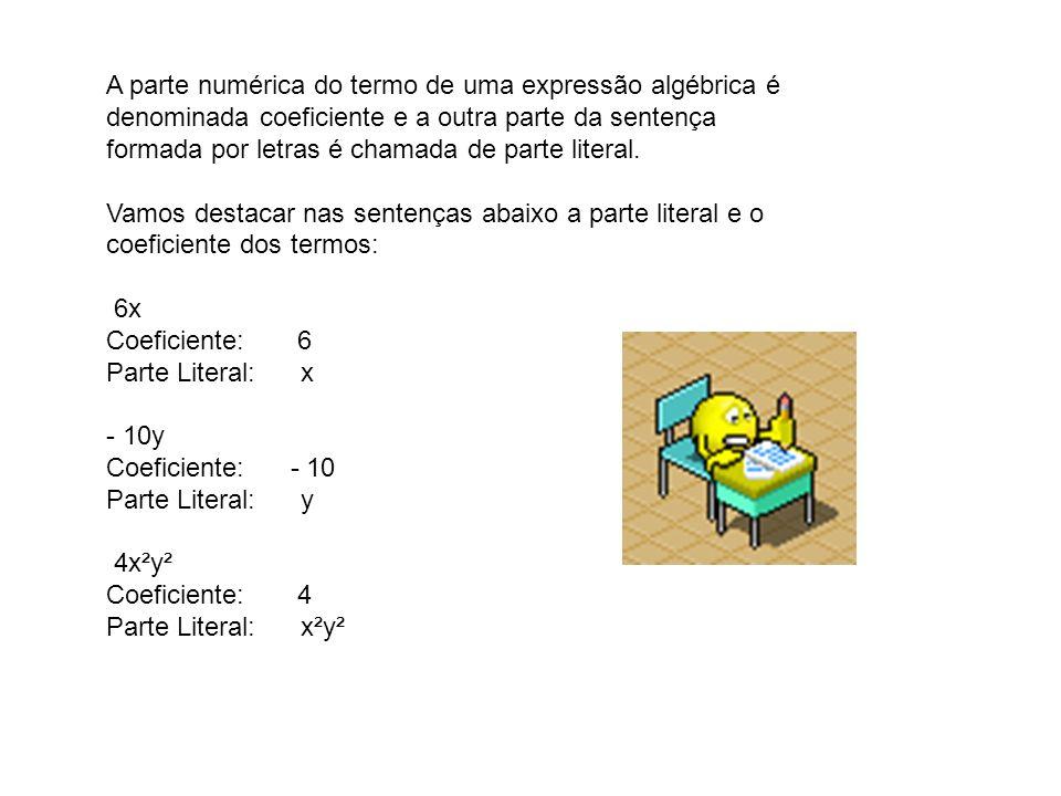 A parte numérica do termo de uma expressão algébrica é denominada coeficiente e a outra parte da sentença
