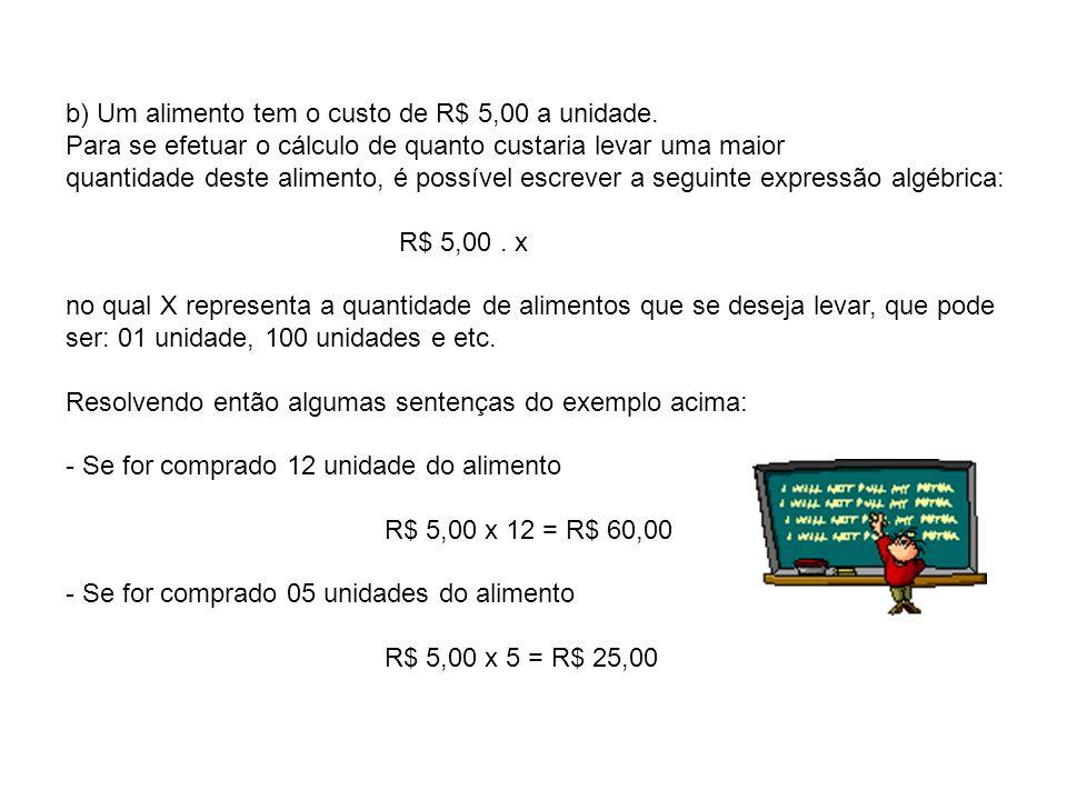 b) Um alimento tem o custo de R$ 5,00 a unidade.