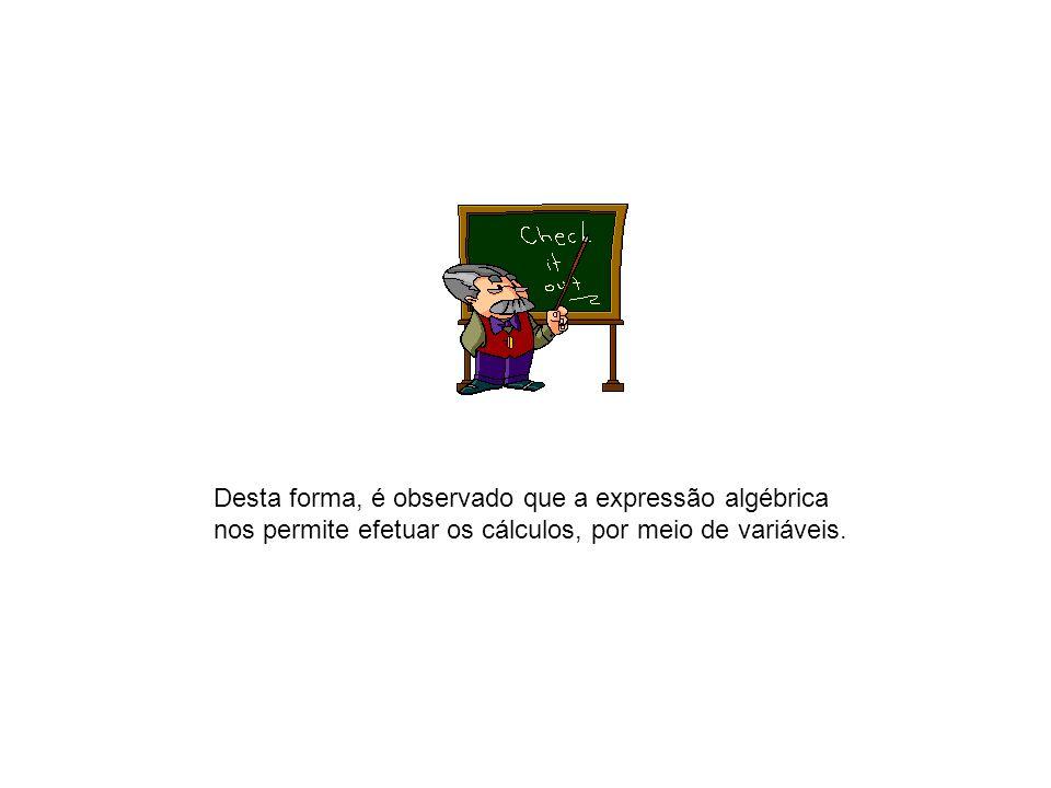 Desta forma, é observado que a expressão algébrica