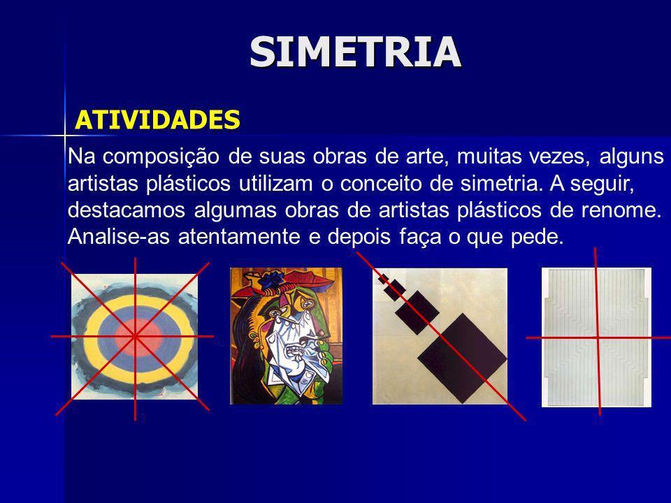 SIMETRIA ATIVIDADES. Na composição de suas obras de arte, muitas vezes, alguns. artistas plásticos utilizam o conceito de simetria. A seguir,