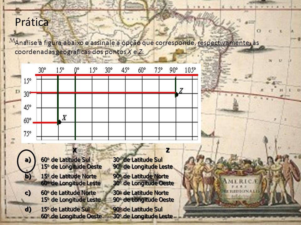 Prática Analise a figura abaixo e assinale a opção que corresponde, respectivamente, às coordenadas geográficas dos pontos X e Z.