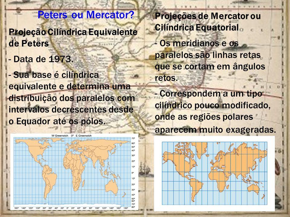 Peters ou Mercator Projeções de Mercator ou Cilíndrica Equatorial.