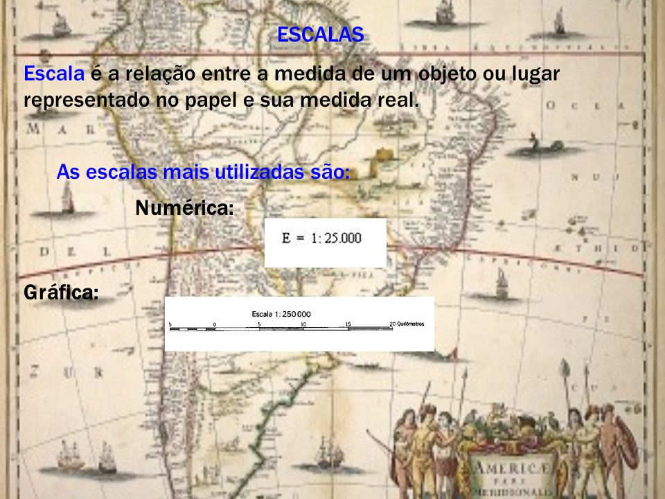 ESCALAS Escala é a relação entre a medida de um objeto ou lugar representado no papel e sua medida real.