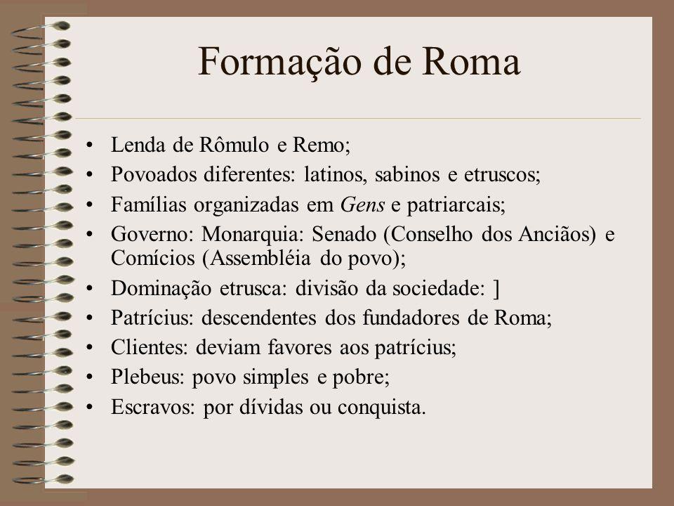 Formação de Roma Lenda de Rômulo e Remo;