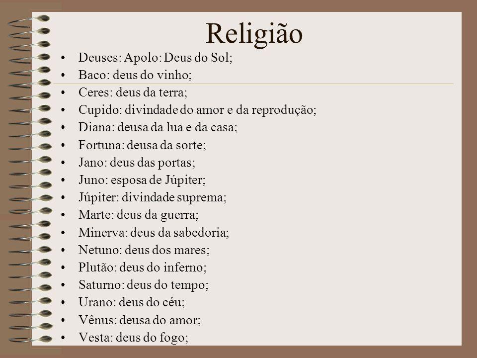 Religião Deuses: Apolo: Deus do Sol; Baco: deus do vinho;