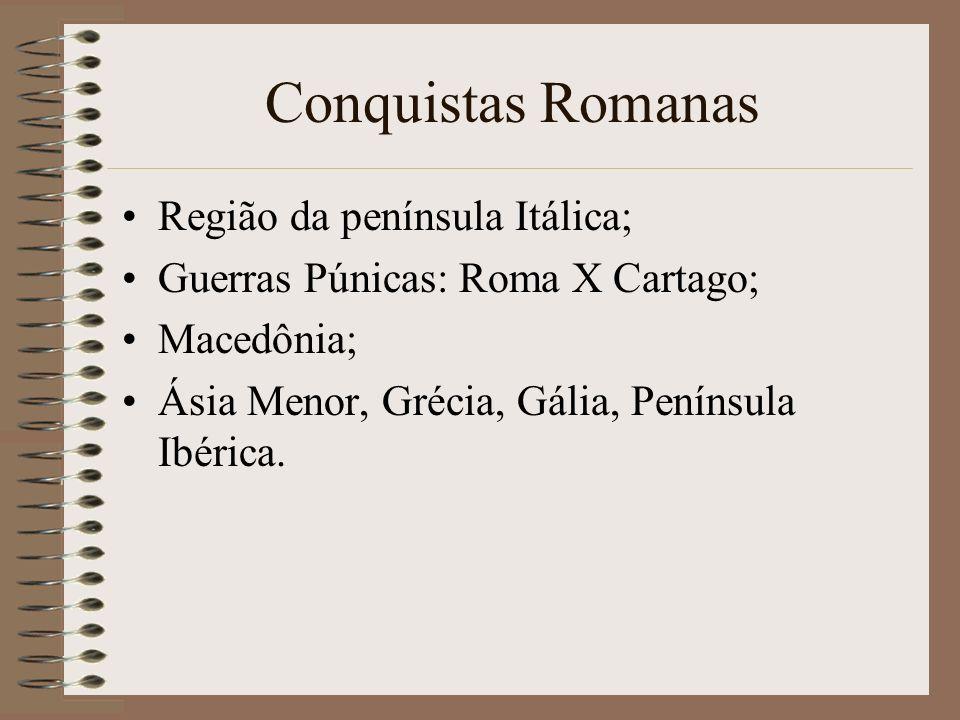 Conquistas Romanas Região da península Itálica;