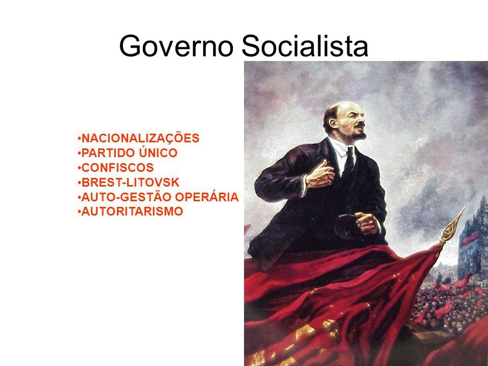 Governo Socialista NACIONALIZAÇÕES PARTIDO ÚNICO CONFISCOS
