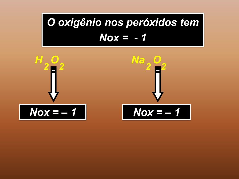 O oxigênio nos peróxidos tem