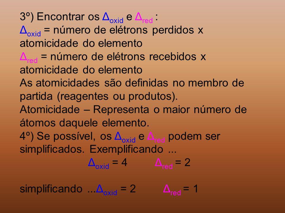 3º) Encontrar os Δoxid e Δred :