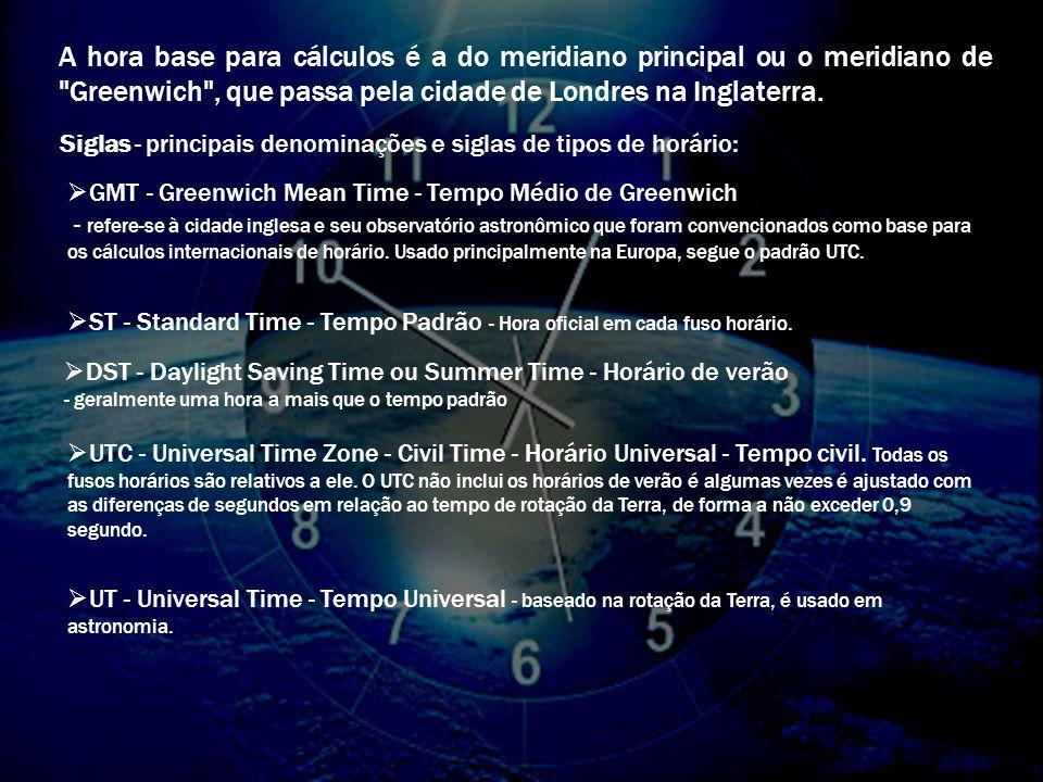 A hora base para cálculos é a do meridiano principal ou o meridiano de Greenwich , que passa pela cidade de Londres na Inglaterra.