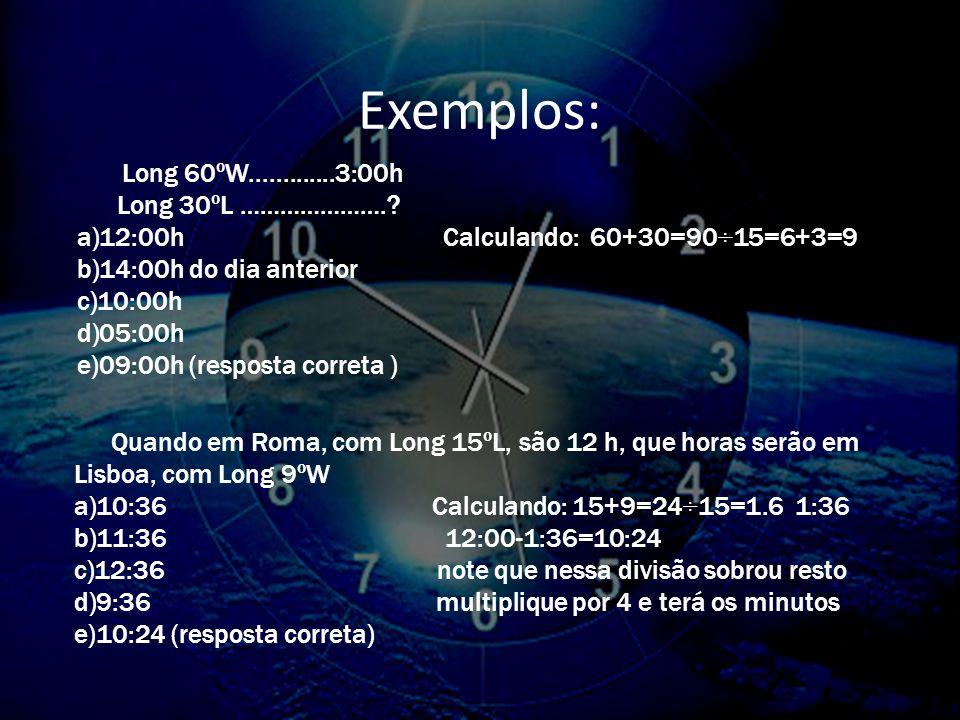 Exemplos: Long 30ºL …………………. 12:00h Calculando: 60+30=90÷15=6+3=9