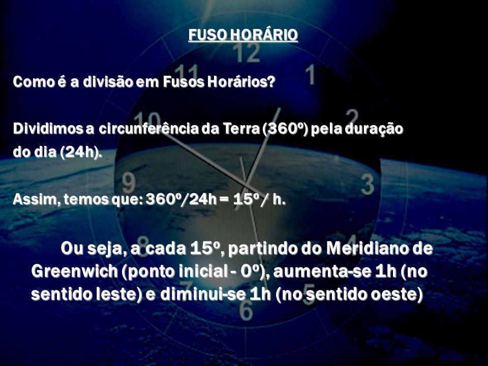 FUSO HORÁRIO Como é a divisão em Fusos Horários Dividimos a circunferência da Terra (360o) pela duração.