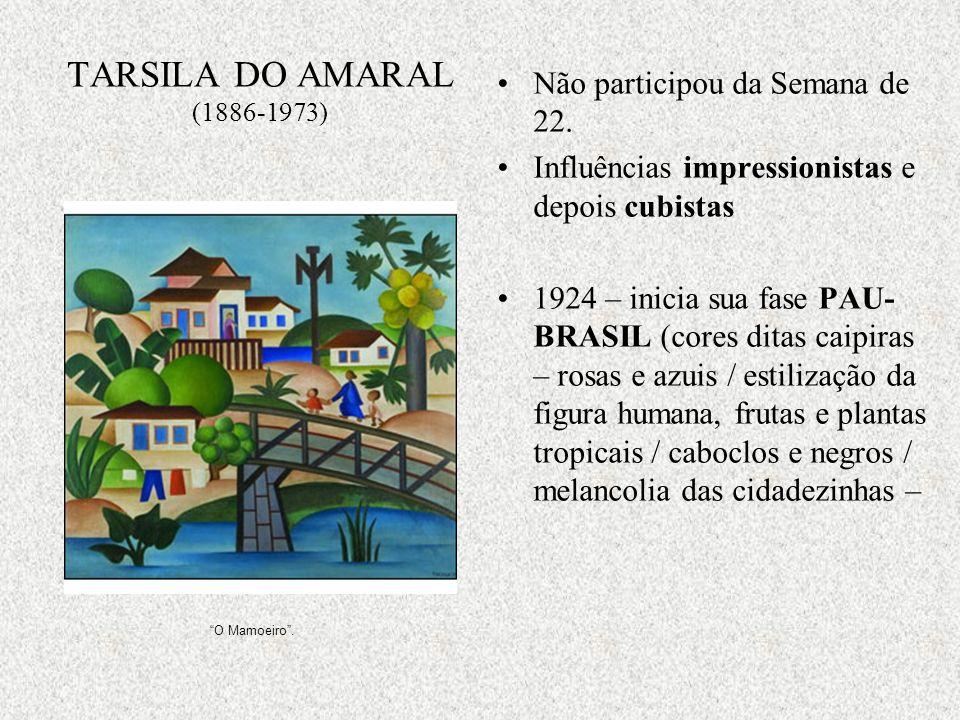 TARSILA DO AMARAL (1886-1973) Não participou da Semana de 22.