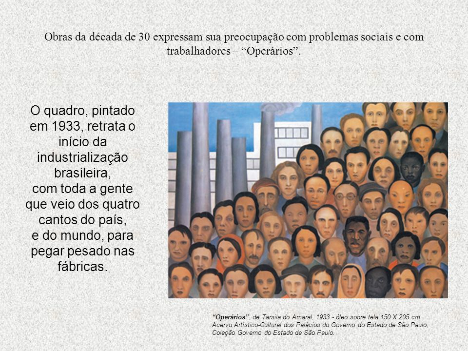 Obras da década de 30 expressam sua preocupação com problemas sociais e com trabalhadores – Operários .