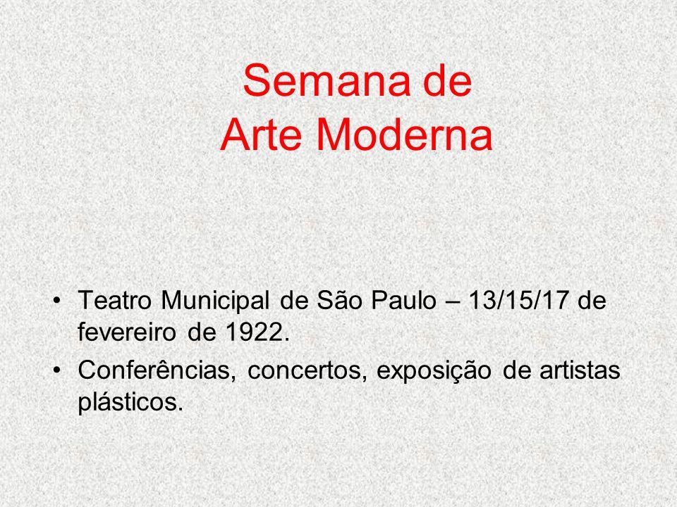 Semana de Arte Moderna Teatro Municipal de São Paulo – 13/15/17 de fevereiro de 1922.