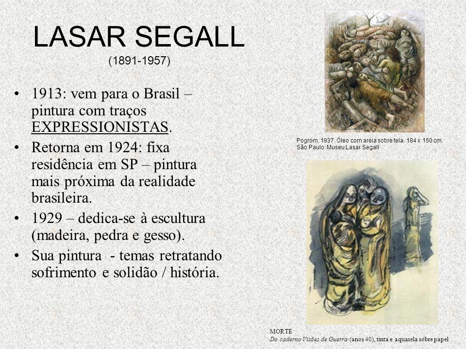LASAR SEGALL (1891-1957) 1913: vem para o Brasil – pintura com traços EXPRESSIONISTAS.