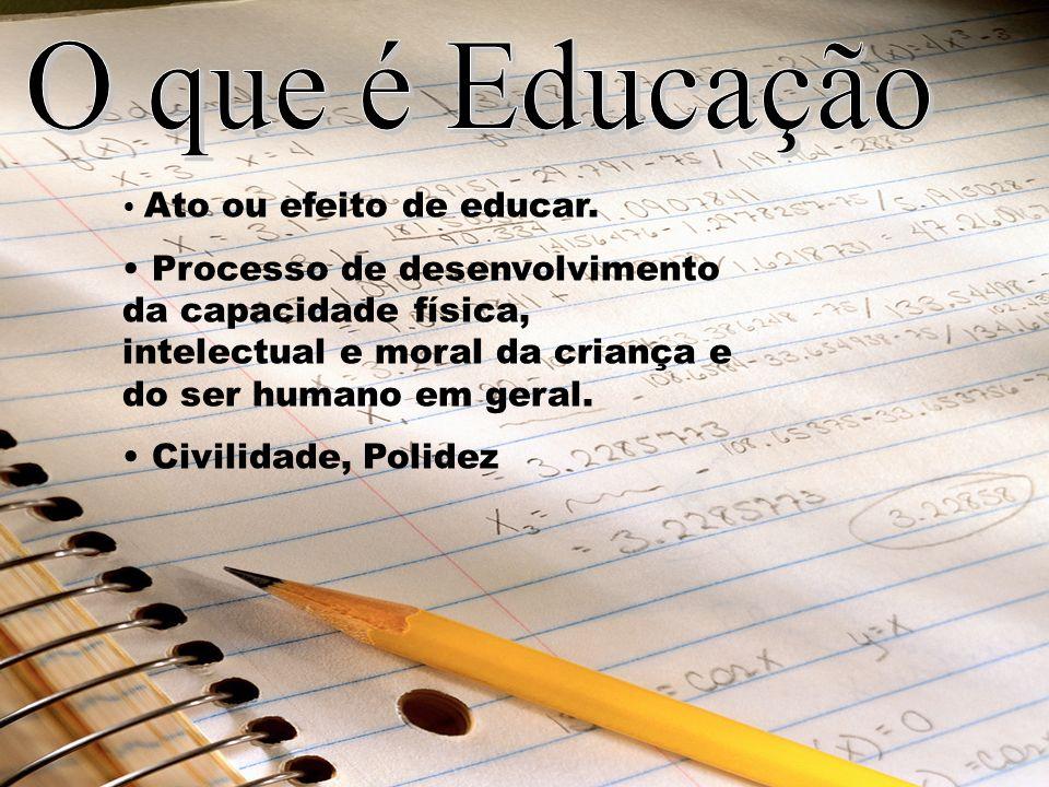 O que é Educação Ato ou efeito de educar. Processo de desenvolvimento da capacidade física, intelectual e moral da criança e do ser humano em geral.