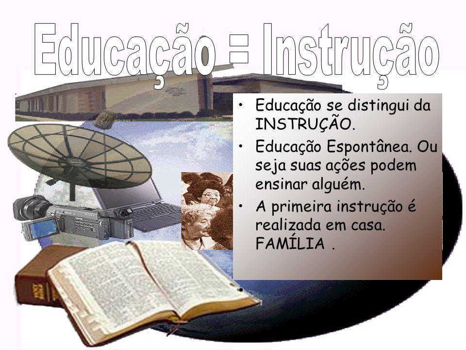 Educação = Instrução Educação se distingui da INSTRUÇÃO.