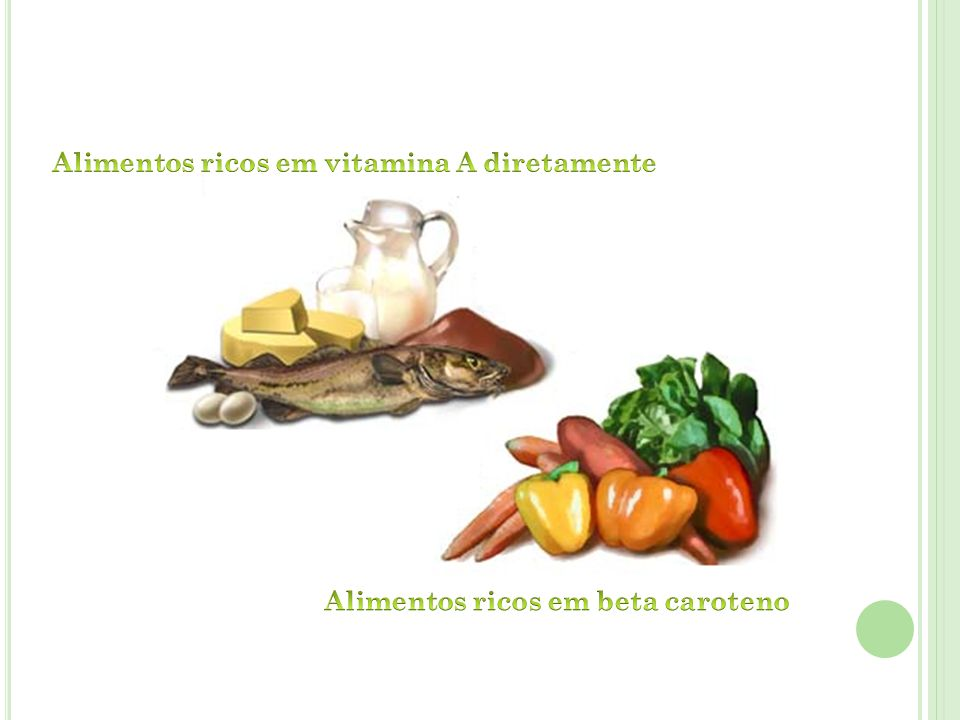 Alimentos ricos em vitamina A diretamente