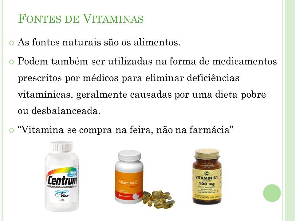 Fontes de Vitaminas As fontes naturais são os alimentos.