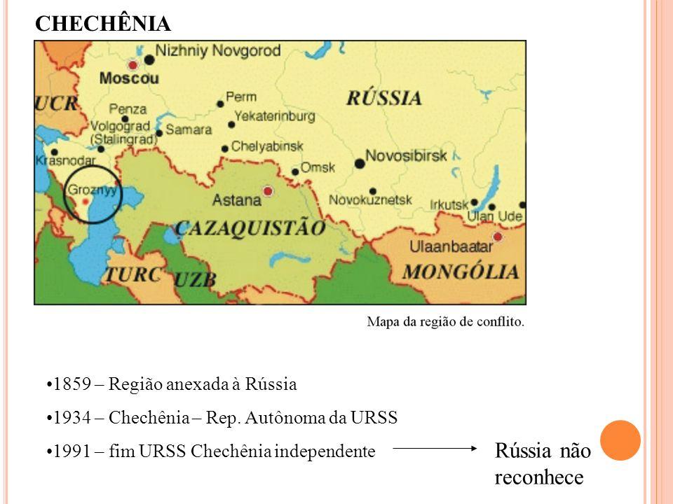 CHECHÊNIA Rússia não reconhece 1859 – Região anexada à Rússia