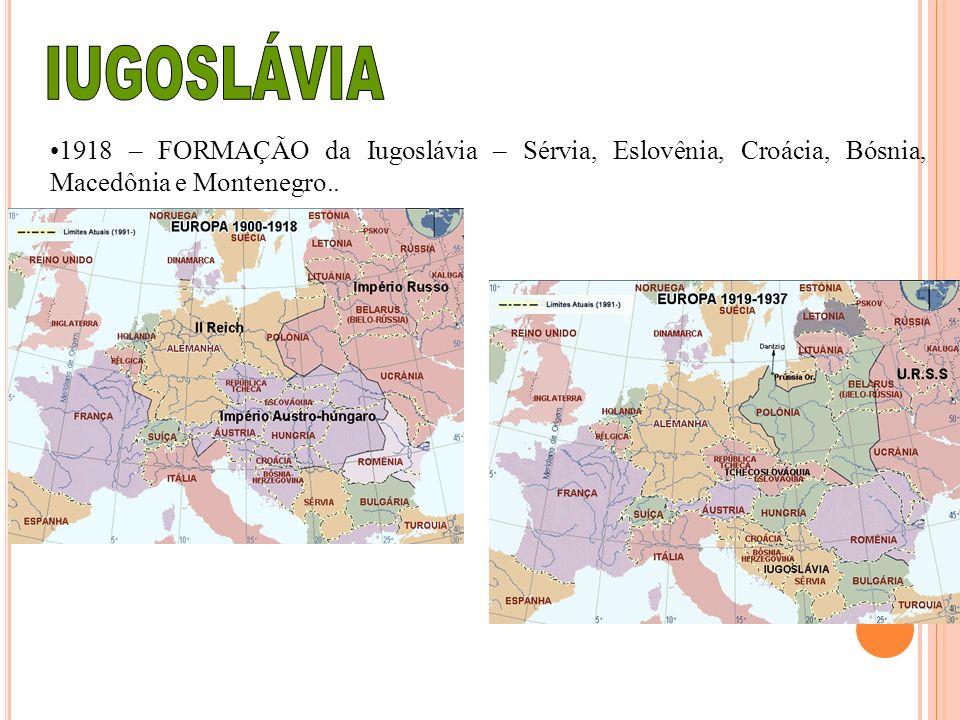 IUGOSLÁVIA 1918 – FORMAÇÃO da Iugoslávia – Sérvia, Eslovênia, Croácia, Bósnia, Macedônia e Montenegro..
