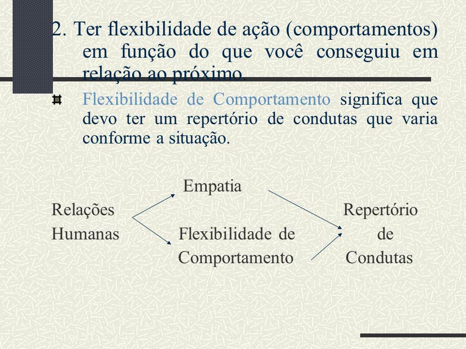 2. Ter flexibilidade de ação (comportamentos) em função do que você conseguiu em relação ao próximo.