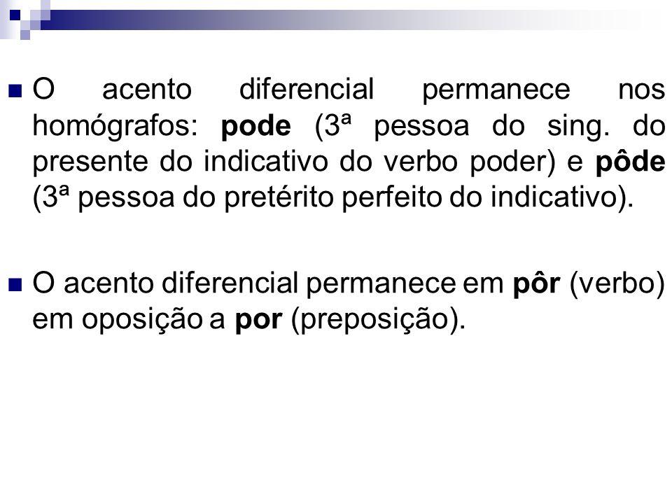 O acento diferencial permanece nos homógrafos: pode (3ª pessoa do sing