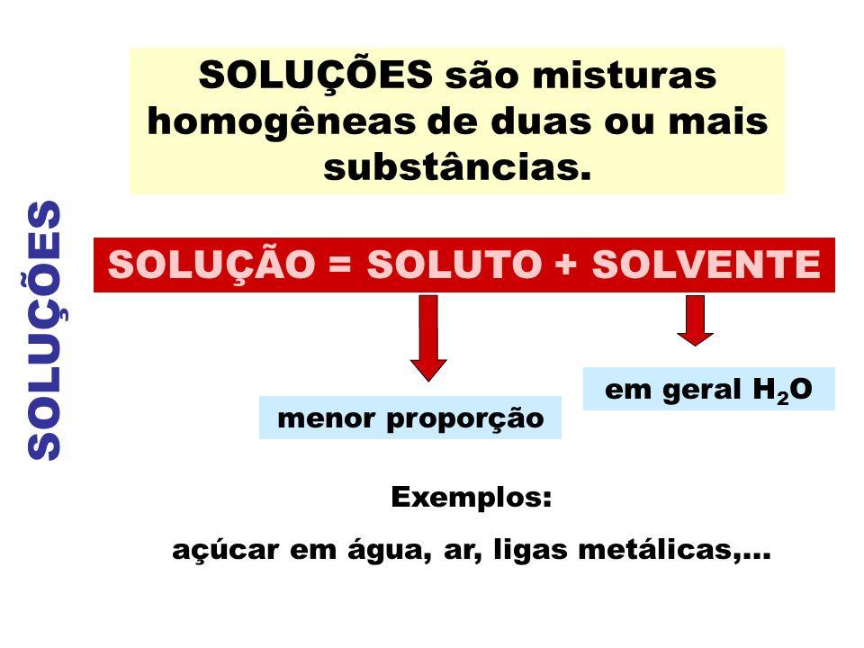 SOLUÇÕES SOLUÇÕES são misturas homogêneas de duas ou mais substâncias.