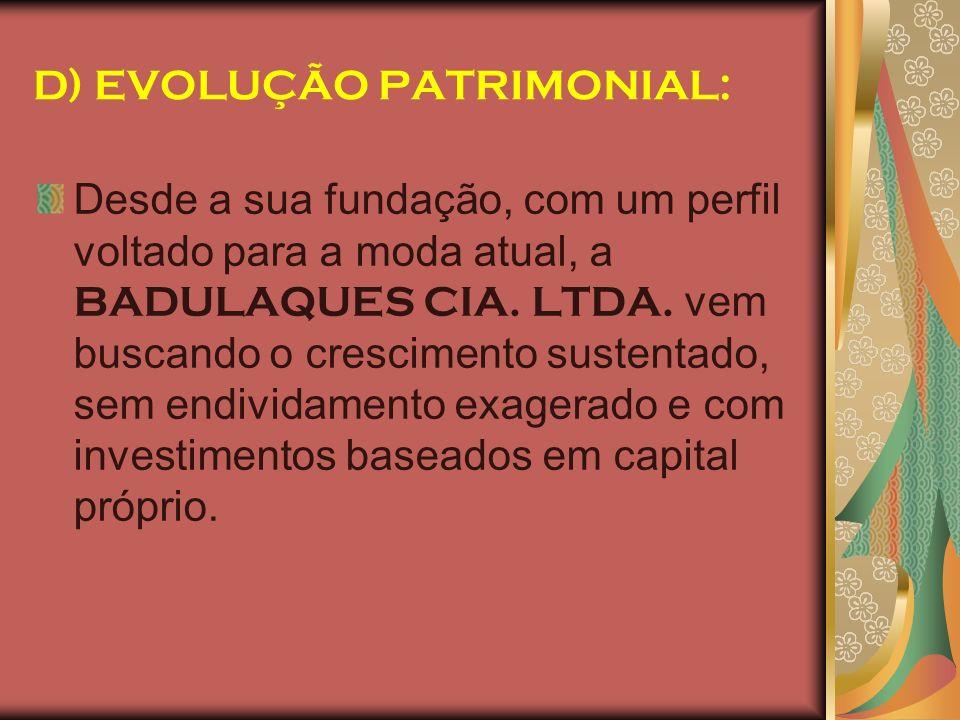 D) EVOLUÇÃO PATRIMONIAL: