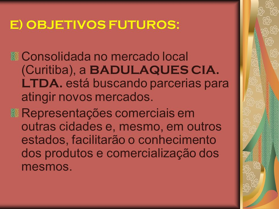 E) OBJETIVOS FUTUROS: Consolidada no mercado local (Curitiba), a BADULAQUES CIA. LTDA. está buscando parcerias para atingir novos mercados.