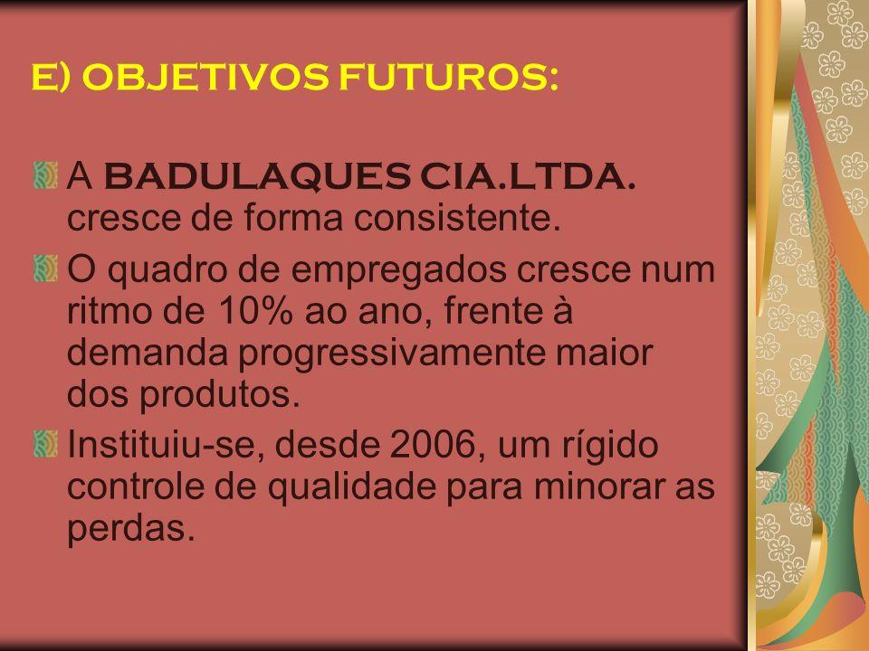 E) OBJETIVOS FUTUROS: A BADULAQUES CIA.LTDA. cresce de forma consistente.