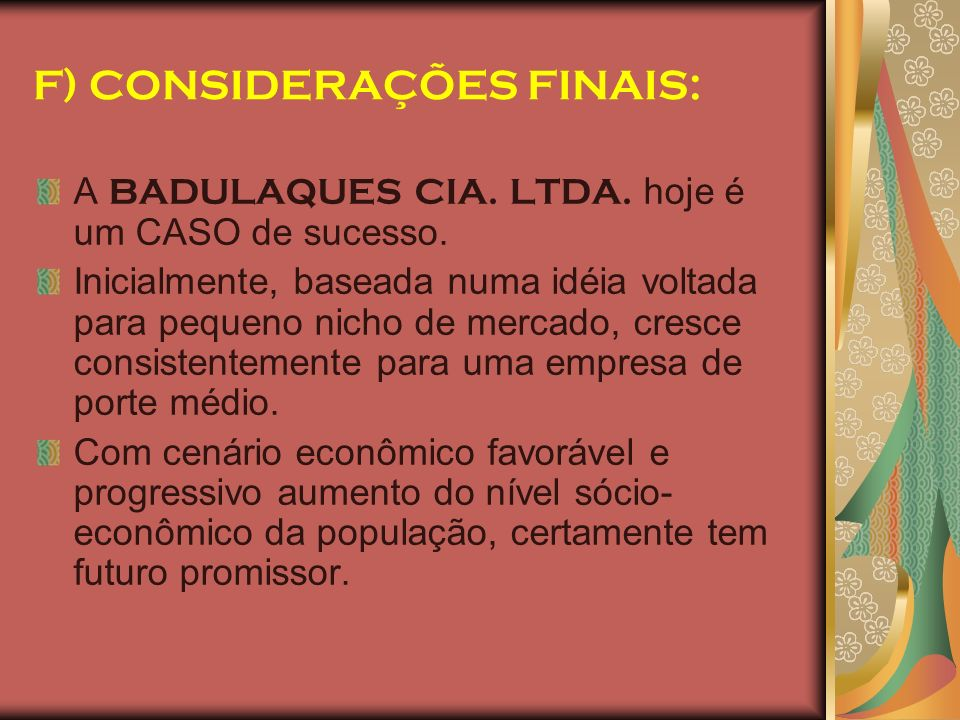 F) CONSIDERAÇÕES FINAIS: