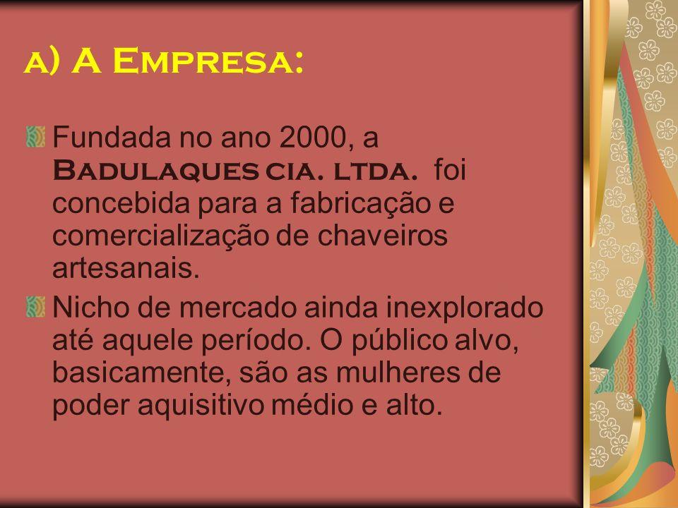 a) A Empresa: Fundada no ano 2000, a Badulaques cia. ltda. foi concebida para a fabricação e comercialização de chaveiros artesanais.
