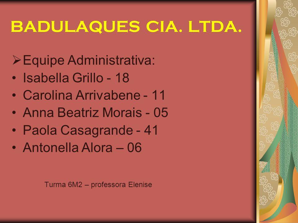 BADULAQUES CIA. LTDA. Equipe Administrativa: Isabella Grillo - 18
