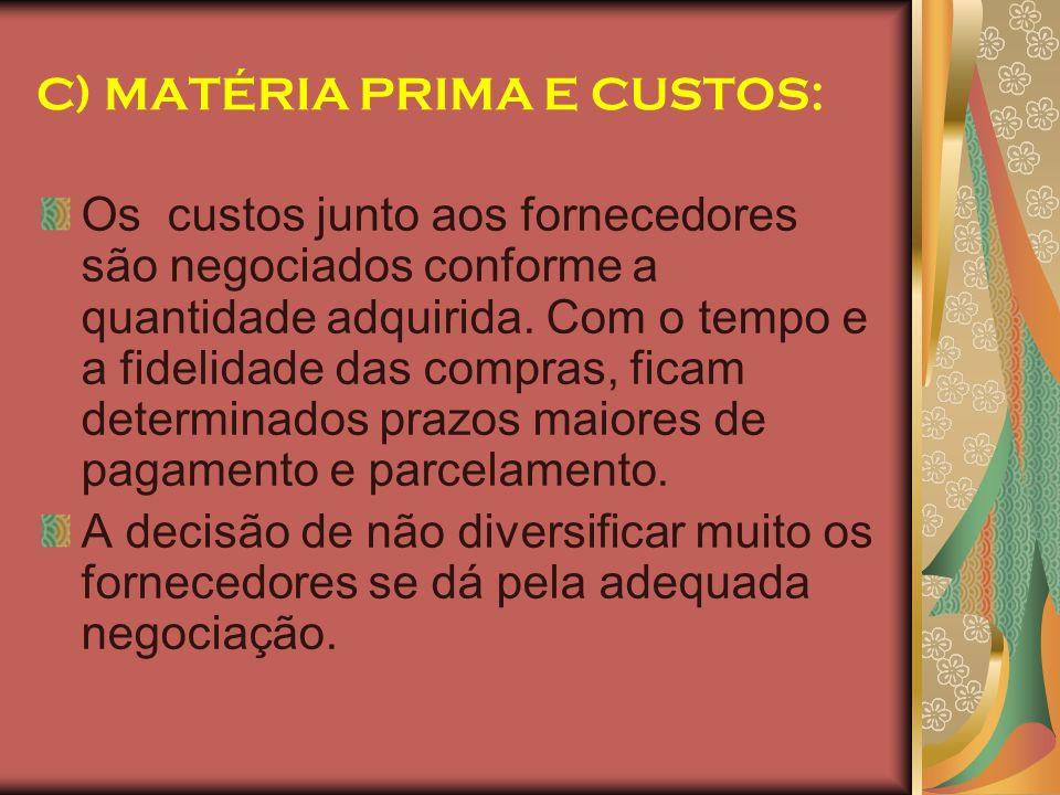 C) MATÉRIA PRIMA E CUSTOS: