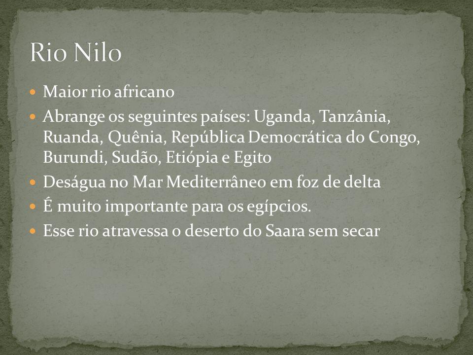 Rio Nilo Maior rio africano