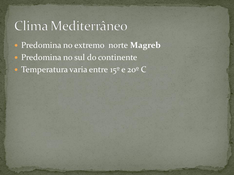 Clima Mediterrâneo Predomina no extremo norte Magreb