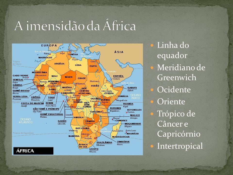 A imensidão da África Linha do equador Meridiano de Greenwich Ocidente