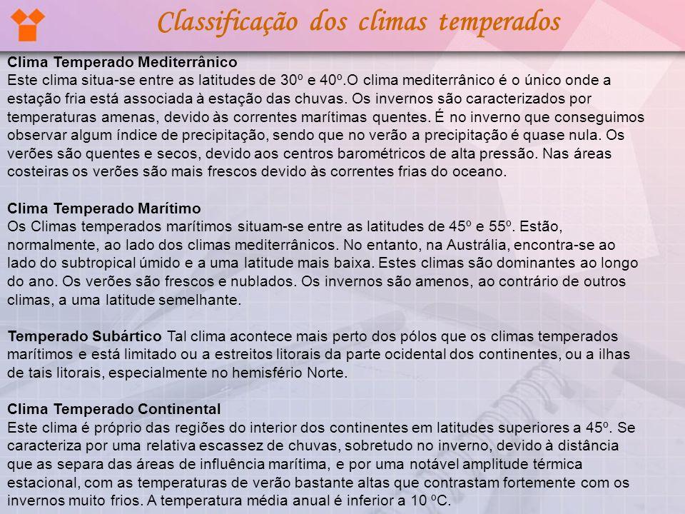 Classificação dos climas temperados