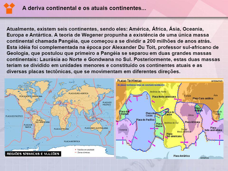 A deriva continental e os atuais continentes...