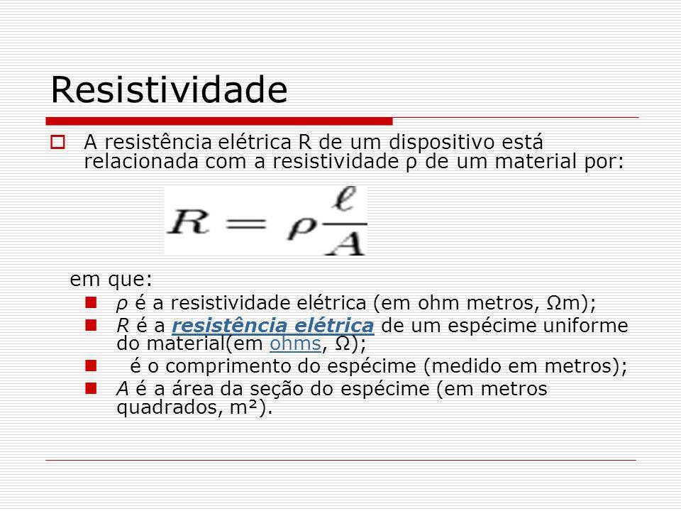 Resistividade A resistência elétrica R de um dispositivo está relacionada com a resistividade ρ de um material por: