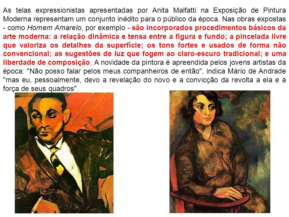 As telas expressionistas apresentadas por Anita Malfatti na Exposição de Pintura Moderna representam um conjunto inédito para o público da época.